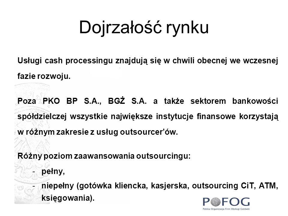 Dojrzałość rynkuUsługi cash processingu znajdują się w chwili obecnej we wczesnej fazie rozwoju.