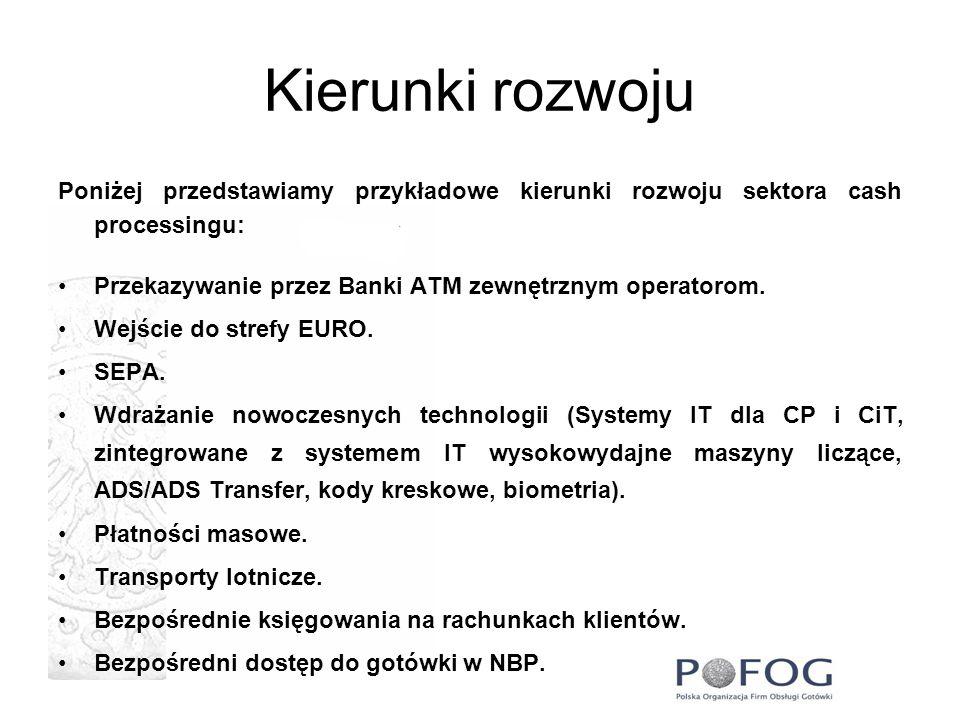 Kierunki rozwoju Poniżej przedstawiamy przykładowe kierunki rozwoju sektora cash processingu: Przekazywanie przez Banki ATM zewnętrznym operatorom.