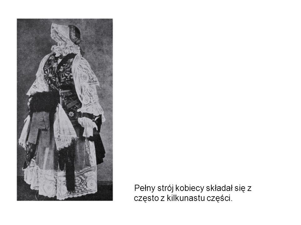 Pełny strój kobiecy składał się z często z kilkunastu części.