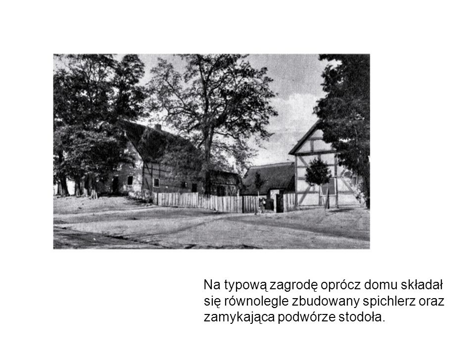 Na typową zagrodę oprócz domu składał się równolegle zbudowany spichlerz oraz zamykająca podwórze stodoła.