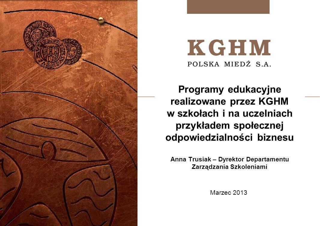 Programy edukacyjne realizowane przez KGHM w szkołach i na uczelniach przykładem społecznej odpowiedzialności biznesu Anna Trusiak – Dyrektor Departamentu Zarządzania Szkoleniami