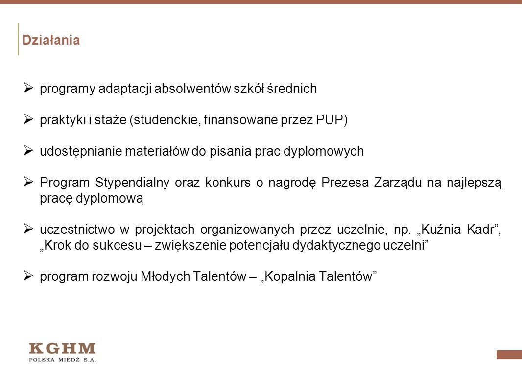 Działania programy adaptacji absolwentów szkół średnich. praktyki i staże (studenckie, finansowane przez PUP)