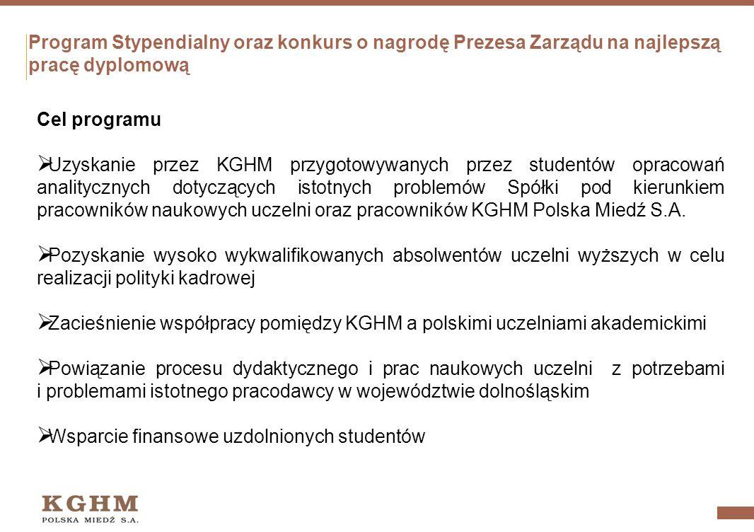 Program Stypendialny oraz konkurs o nagrodę Prezesa Zarządu na najlepszą pracę dyplomową