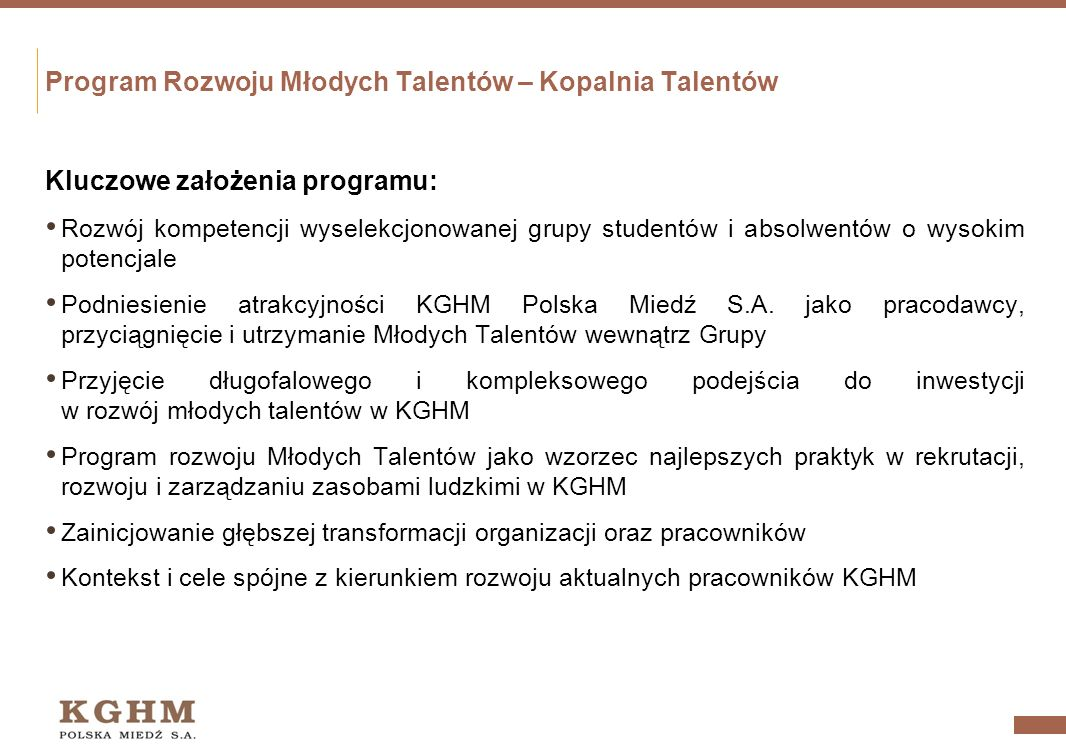 Program Rozwoju Młodych Talentów – Kopalnia Talentów