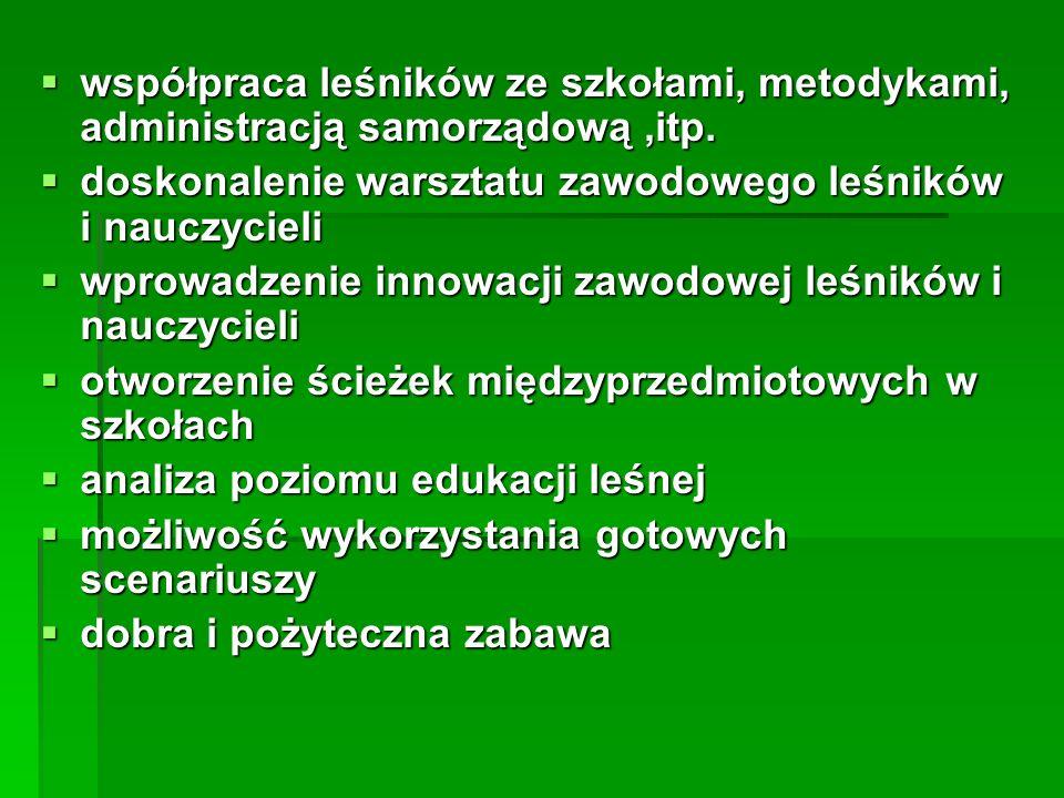 współpraca leśników ze szkołami, metodykami, administracją samorządową ,itp.