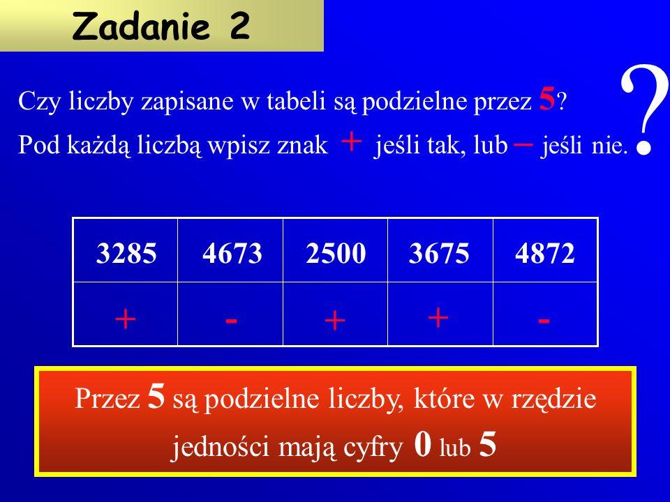 Czy liczby zapisane w tabeli są podzielne przez 5