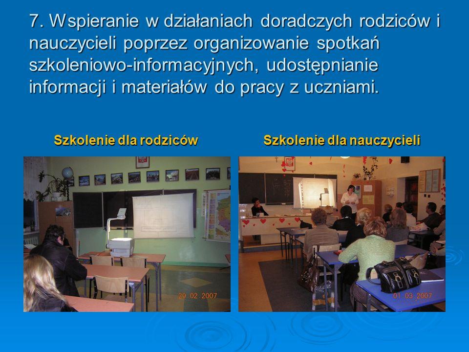 Szkolenie dla rodziców Szkolenie dla nauczycieli