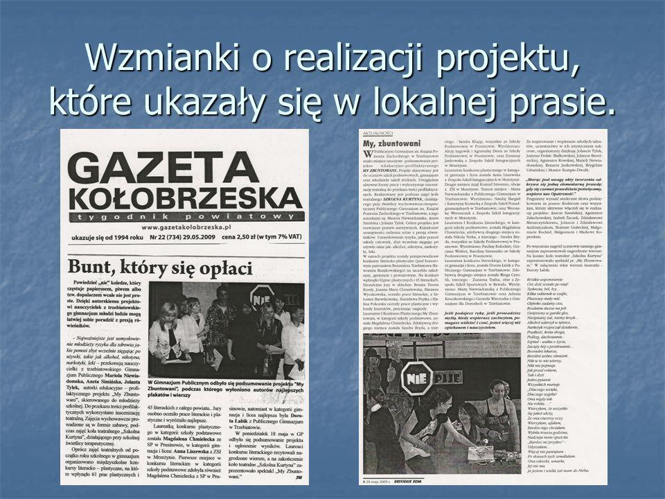 Wzmianki o realizacji projektu, które ukazały się w lokalnej prasie.