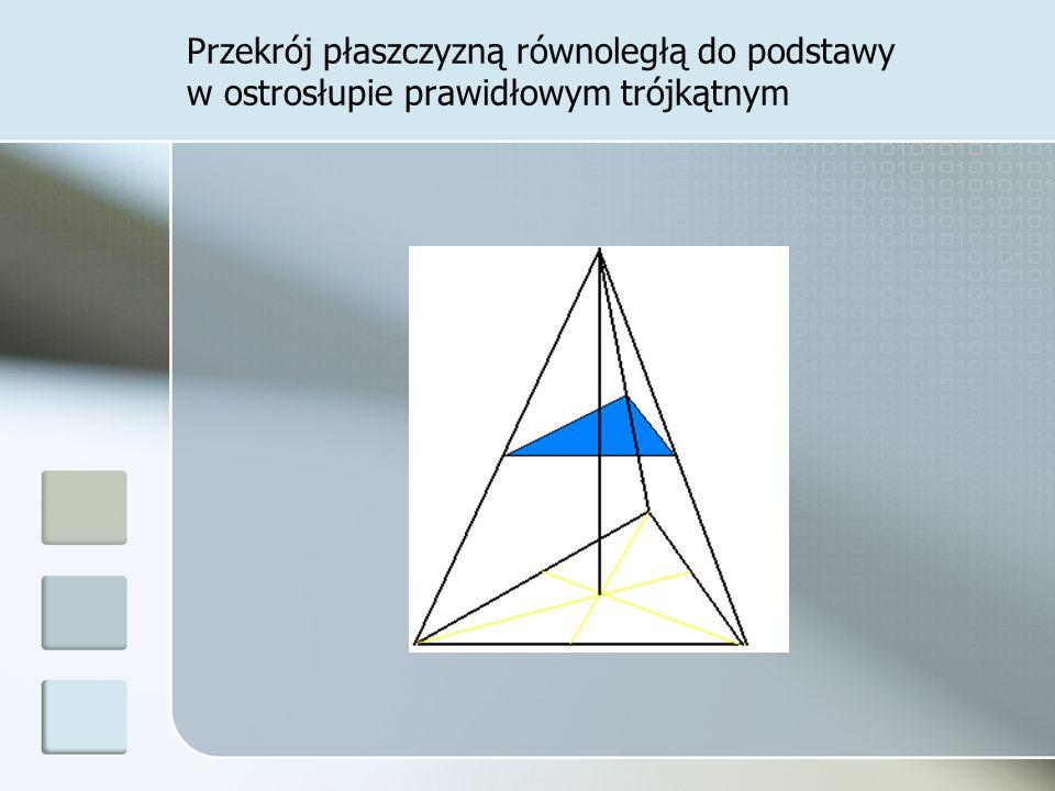 Przekrój płaszczyzną równoległą do podstawy w ostrosłupie prawidłowym trójkątnym