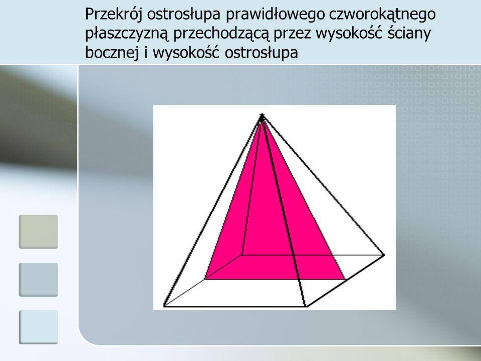 Przekrój ostrosłupa prawidłowego czworokątnego płaszczyzną przechodzącą przez wysokość ściany bocznej i wysokość ostrosłupa
