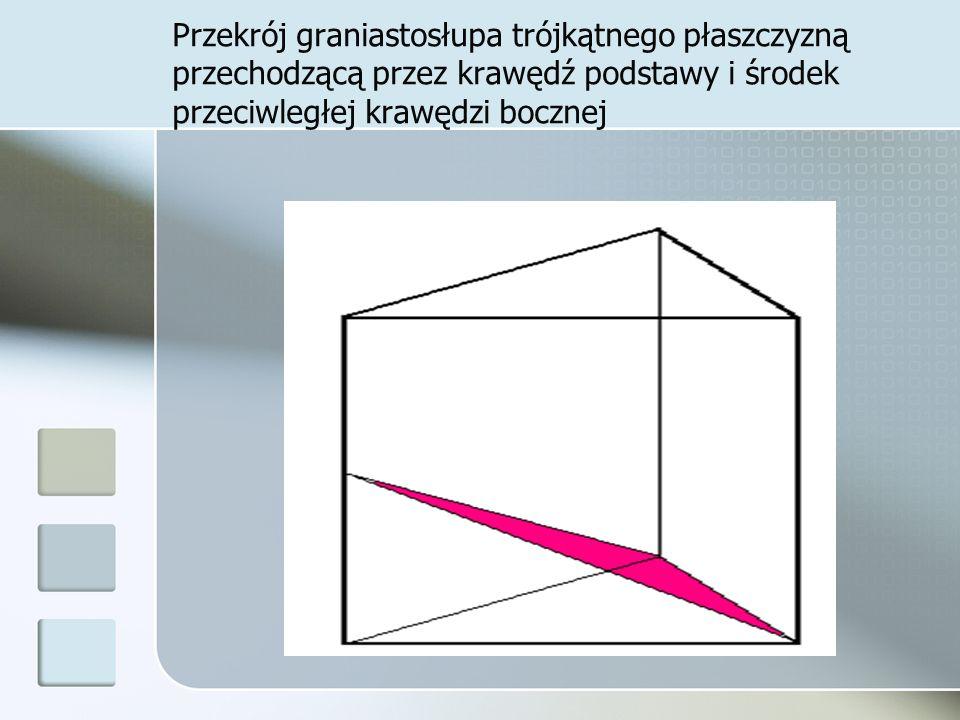 Przekrój graniastosłupa trójkątnego płaszczyzną przechodzącą przez krawędź podstawy i środek przeciwległej krawędzi bocznej