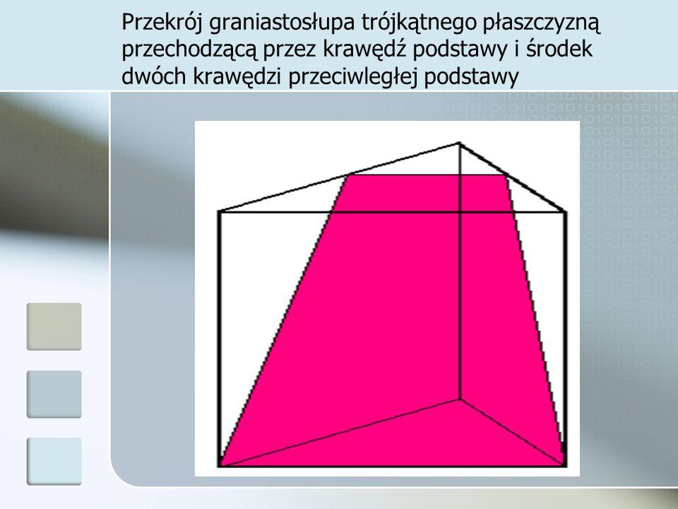 Przekrój graniastosłupa trójkątnego płaszczyzną przechodzącą przez krawędź podstawy i środek dwóch krawędzi przeciwległej podstawy
