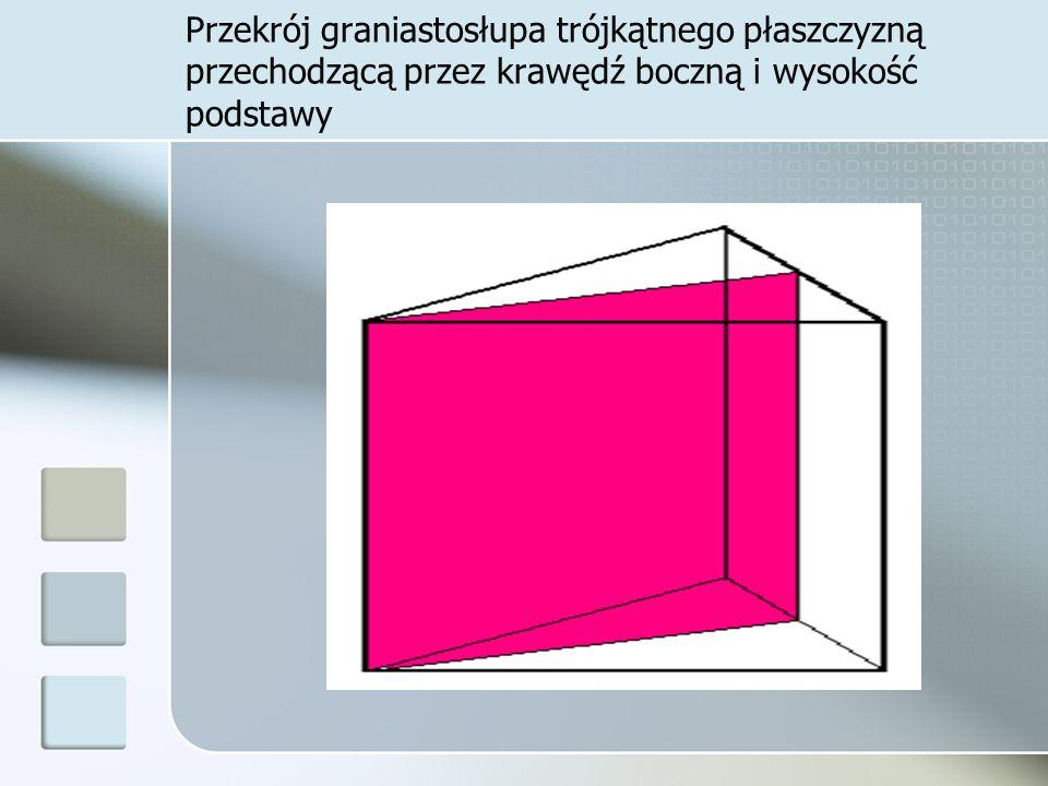 Przekrój graniastosłupa trójkątnego płaszczyzną przechodzącą przez krawędź boczną i wysokość podstawy