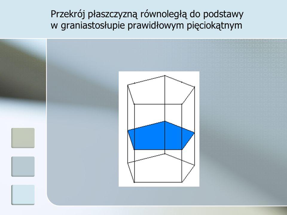 Przekrój płaszczyzną równoległą do podstawy w graniastosłupie prawidłowym pięciokątnym
