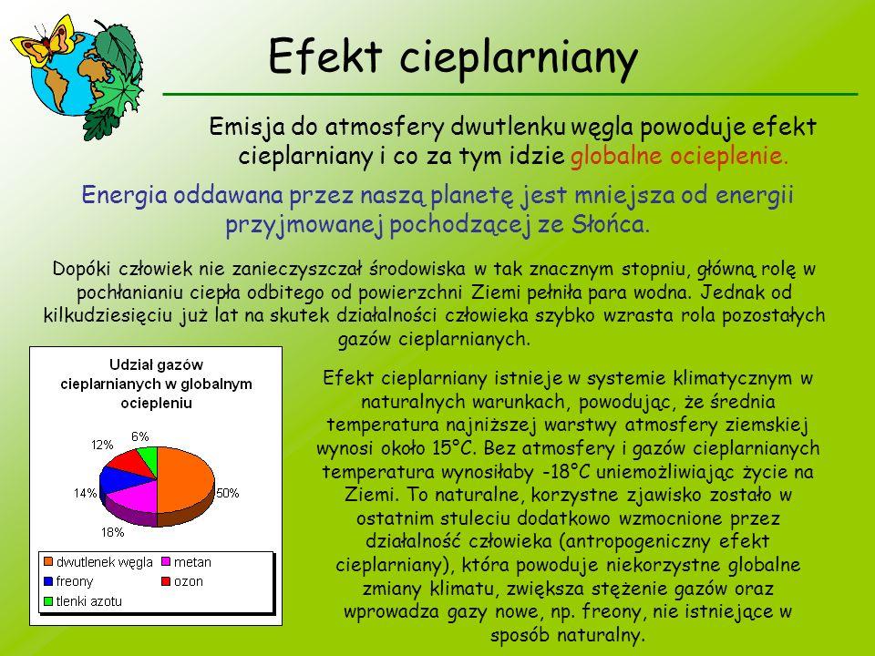 Efekt cieplarniany Emisja do atmosfery dwutlenku węgla powoduje efekt cieplarniany i co za tym idzie globalne ocieplenie.