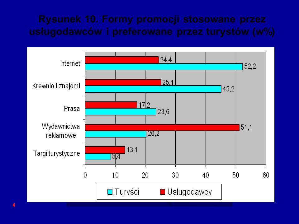 Rysunek 10. Formy promocji stosowane przez usługodawców i preferowane przez turystów (w%)
