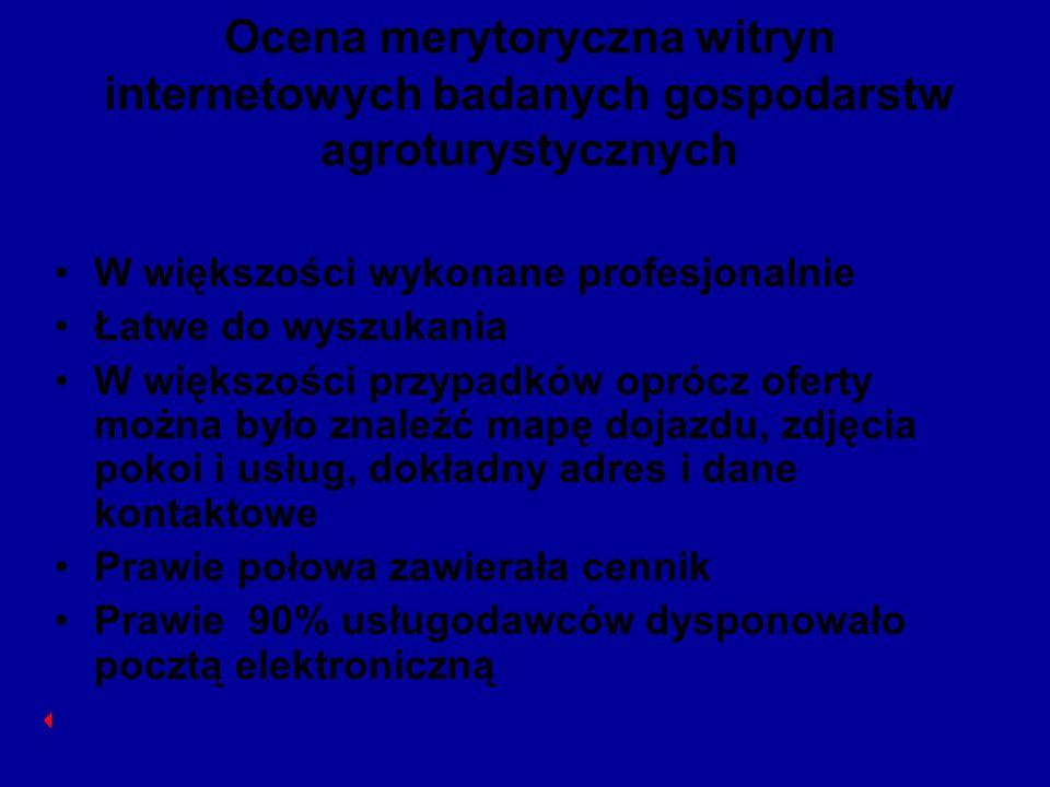 Ocena merytoryczna witryn internetowych badanych gospodarstw agroturystycznych