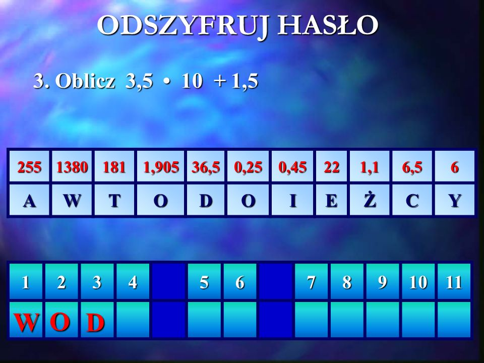 ODSZYFRUJ HASŁO W O D 3. Oblicz 3,5 • 10 + 1,5 A W T O D I E Ż C Y 1 2