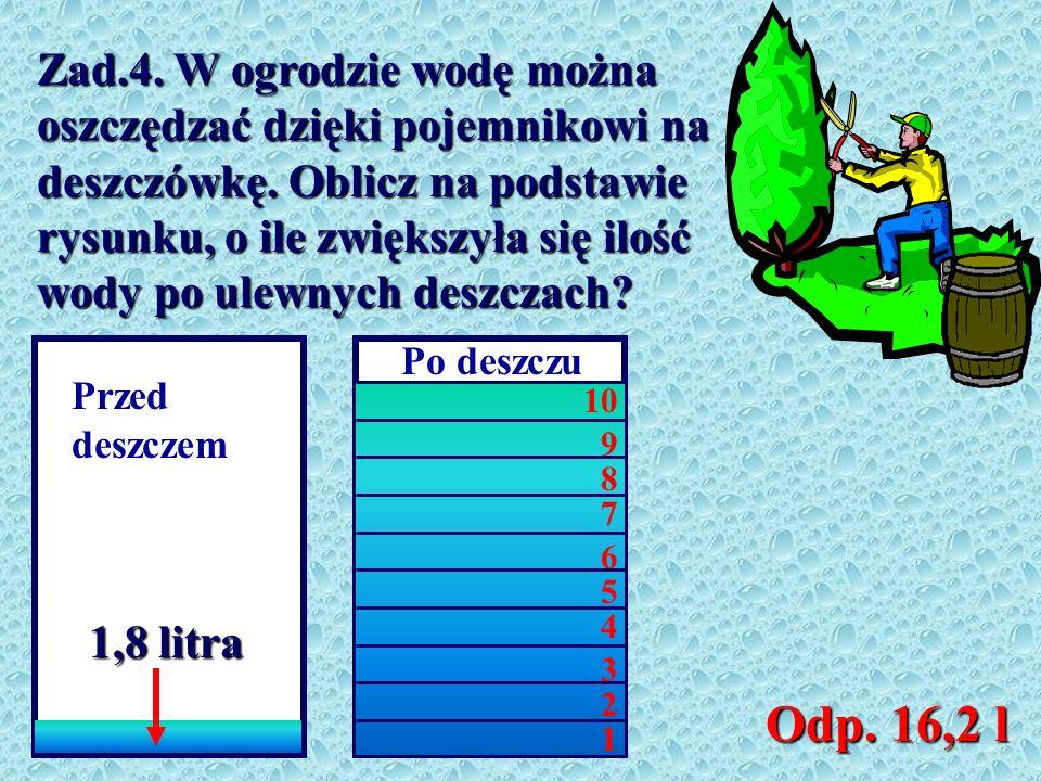 Zad.4. W ogrodzie wodę można oszczędzać dzięki pojemnikowi na deszczówkę. Oblicz na podstawie rysunku, o ile zwiększyła się ilość wody po ulewnych deszczach