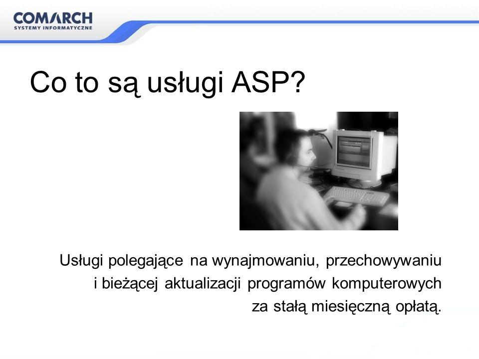Co to są usługi ASP Usługi polegające na wynajmowaniu, przechowywaniu