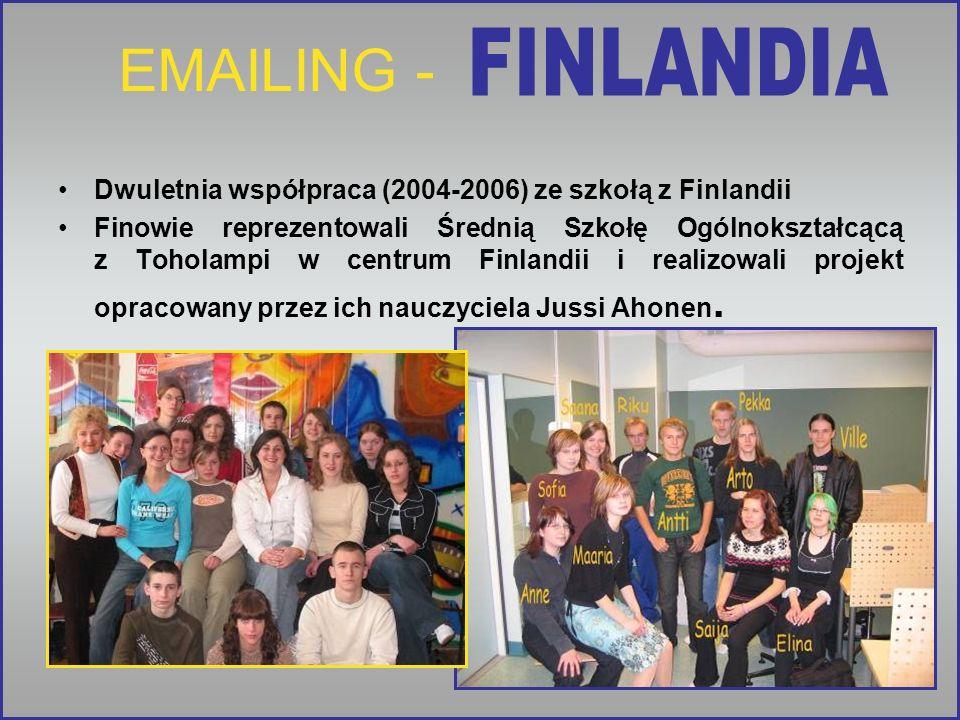 EMAILING - FINLANDIA. Dwuletnia współpraca (2004-2006) ze szkołą z Finlandii.