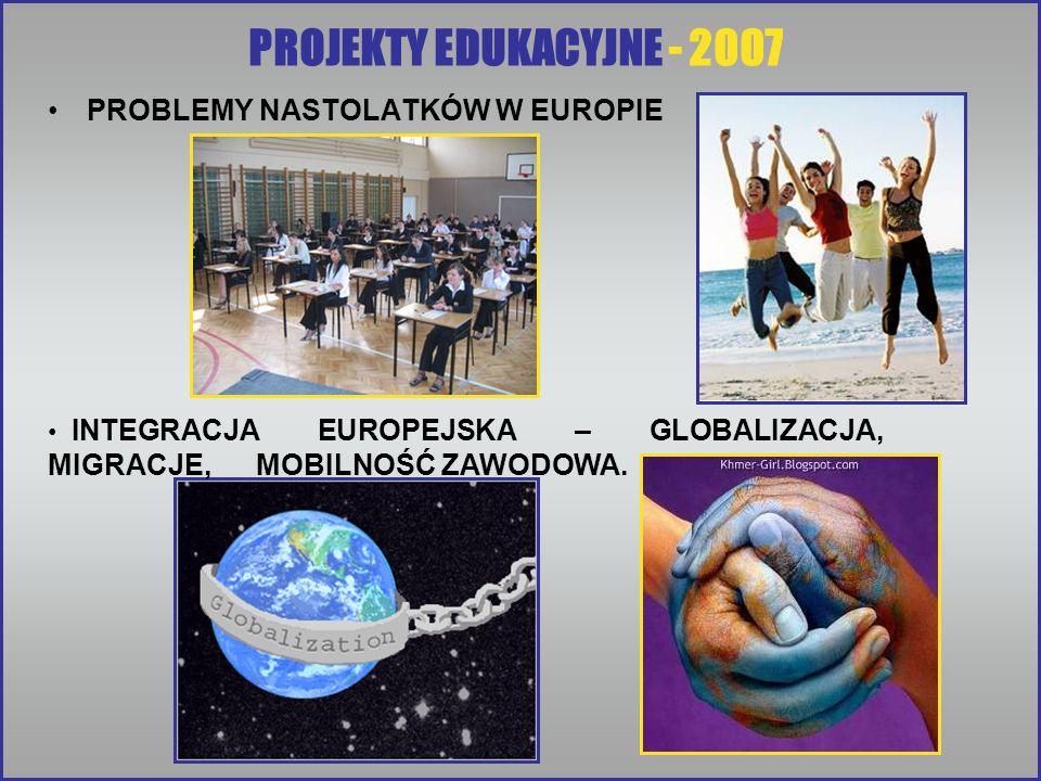 PROJEKTY EDUKACYJNE - 2007 PROBLEMY NASTOLATKÓW W EUROPIE