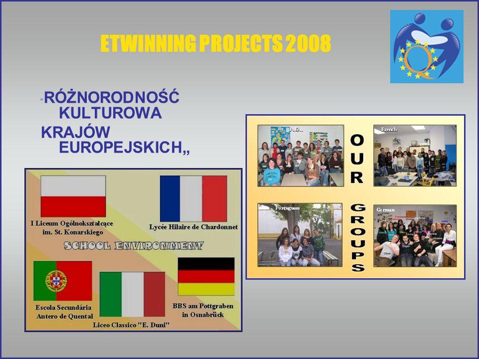 """ETWINNING PROJECTS 2008 RÓŻNORODNOŚĆ KULTUROWA KRAJÓW EUROPEJSKICH"""""""