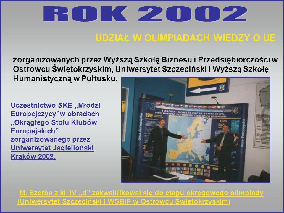 ROK 2002 UDZIAŁ W OLIMPIADACH WIEDZY O UE.