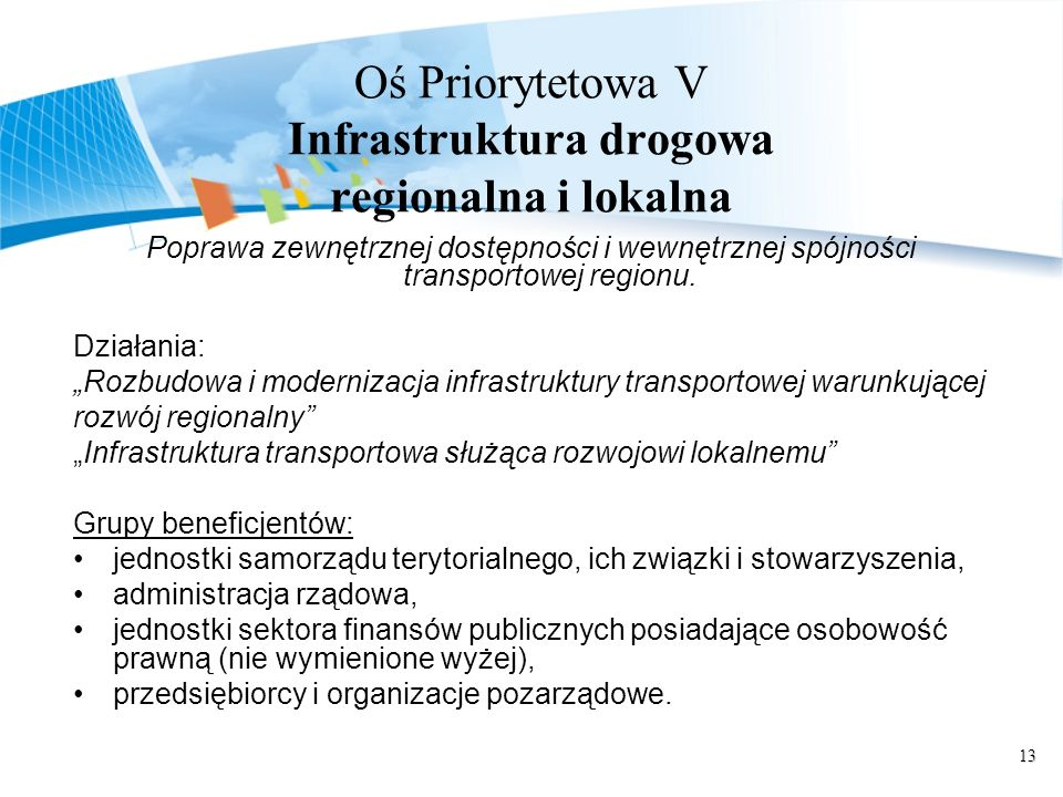 Oś Priorytetowa V Infrastruktura drogowa regionalna i lokalna