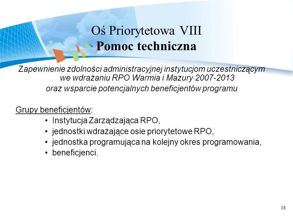 Oś Priorytetowa VIII Pomoc techniczna