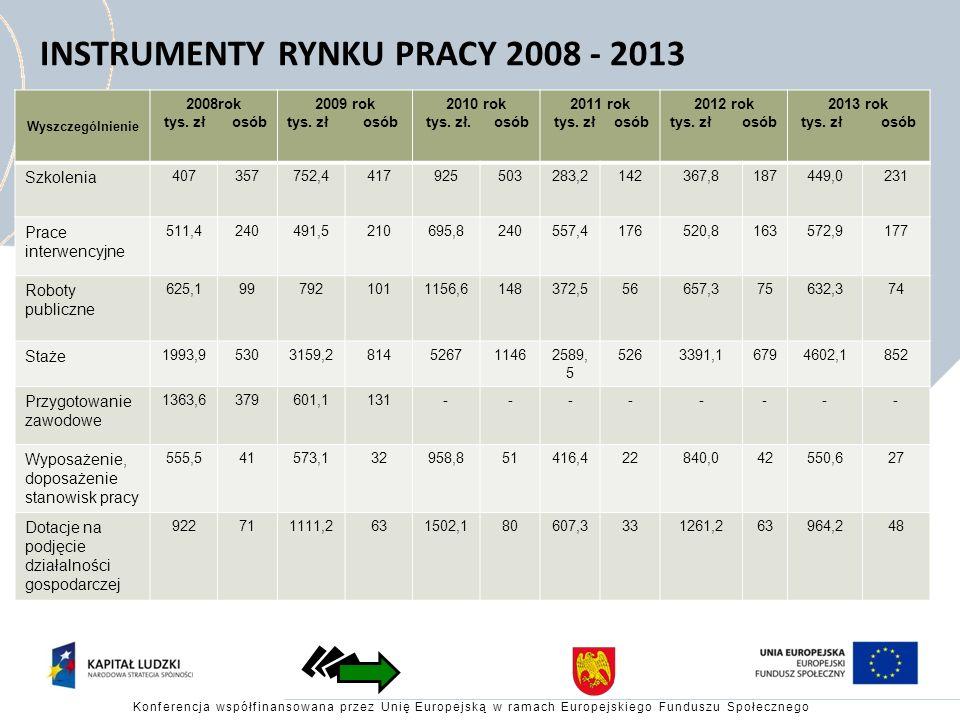 INSTRUMENTY RYNKU PRACY 2008 - 2013