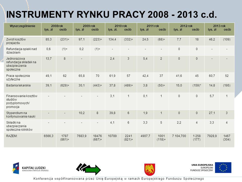 INSTRUMENTY RYNKU PRACY 2008 - 2013 c.d.