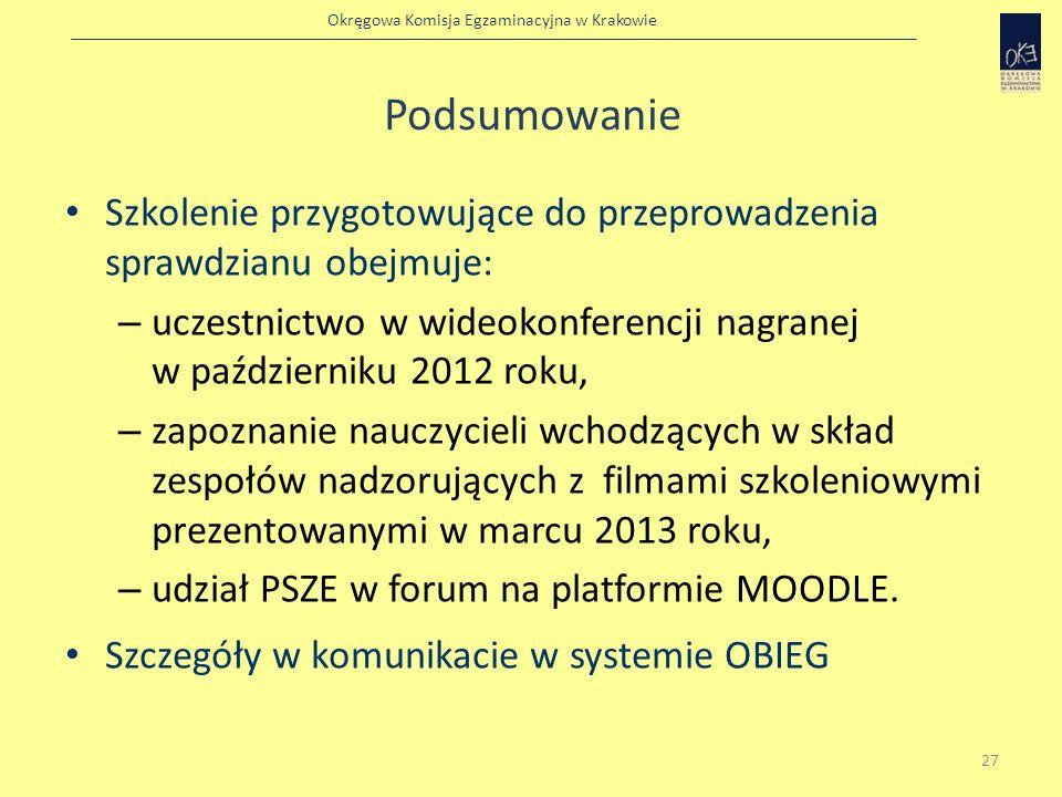 PodsumowanieSzkolenie przygotowujące do przeprowadzenia sprawdzianu obejmuje: uczestnictwo w wideokonferencji nagranej w październiku 2012 roku,