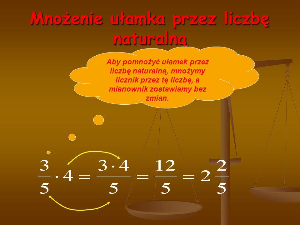 Mnożenie ułamka przez liczbę naturalną