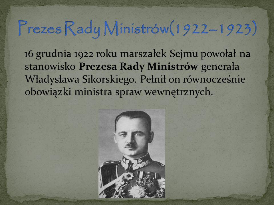 Prezes Rady Ministrów(1922–1923)