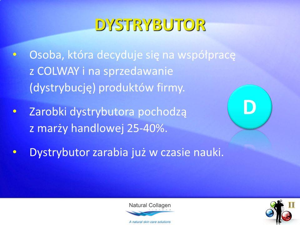 DYSTRYBUTOROsoba, która decyduje się na współpracę z COLWAY i na sprzedawanie (dystrybucję) produktów firmy.