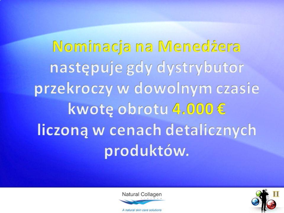Nominacja na Menedżera następuje gdy dystrybutor przekroczy w dowolnym czasie kwotę obrotu 4.000 € liczoną w cenach detalicznych produktów.