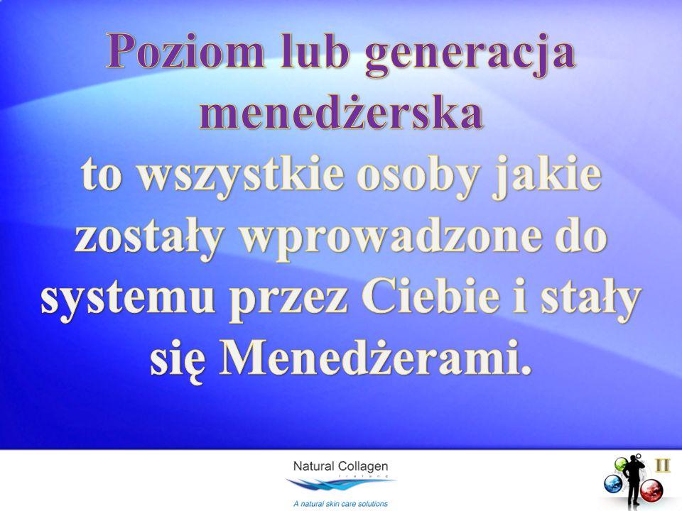 Poziom lub generacja menedżerska to wszystkie osoby jakie zostały wprowadzone do systemu przez Ciebie i stały się Menedżerami.