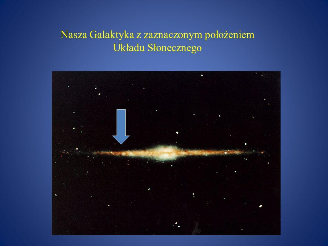Nasza Galaktyka z zaznaczonym położeniem