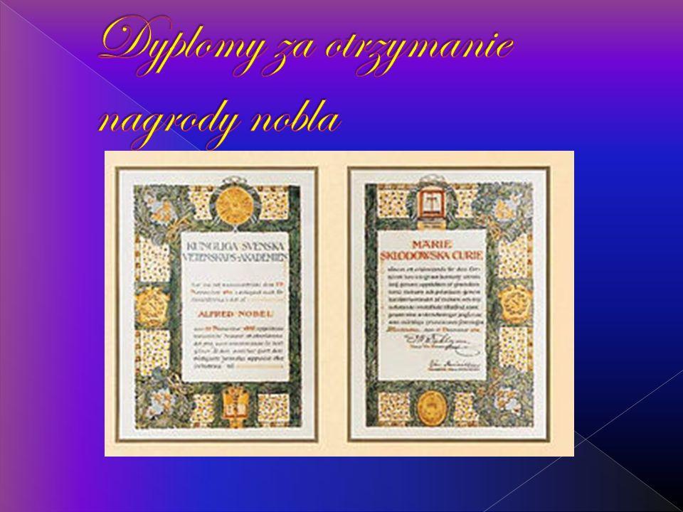 Dyplomy za otrzymanie nagrody nobla