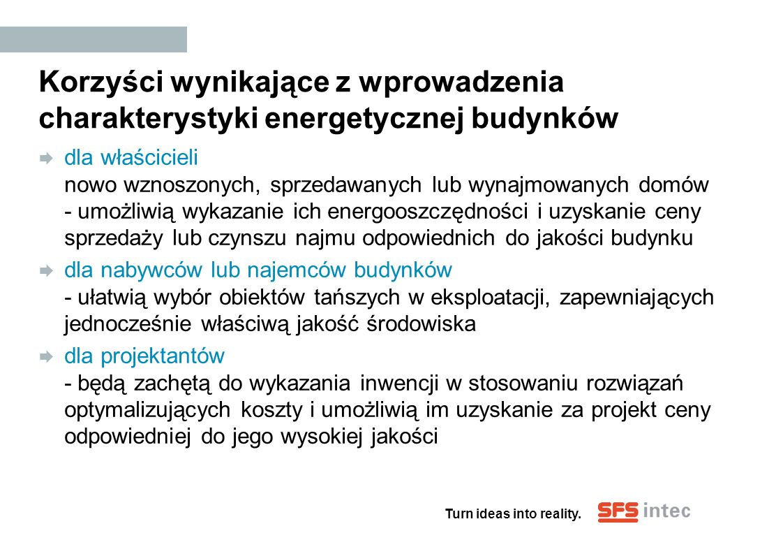 Korzyści wynikające z wprowadzenia charakterystyki energetycznej budynków