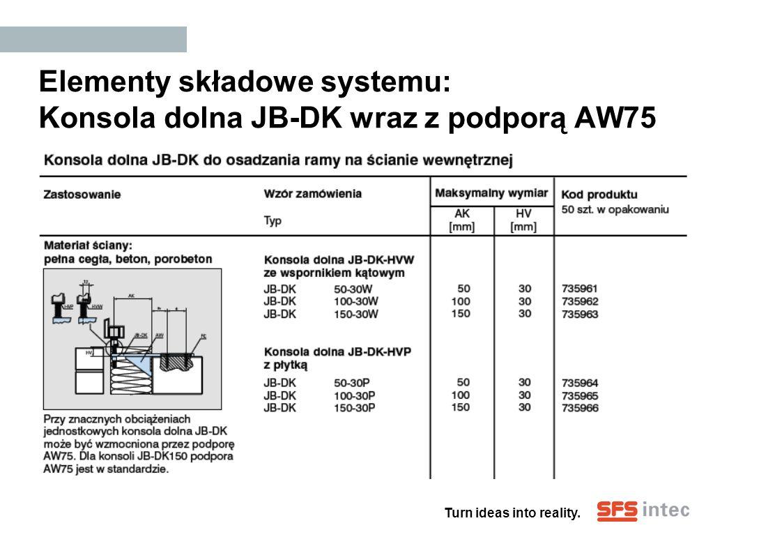 Elementy składowe systemu: Konsola dolna JB-DK wraz z podporą AW75