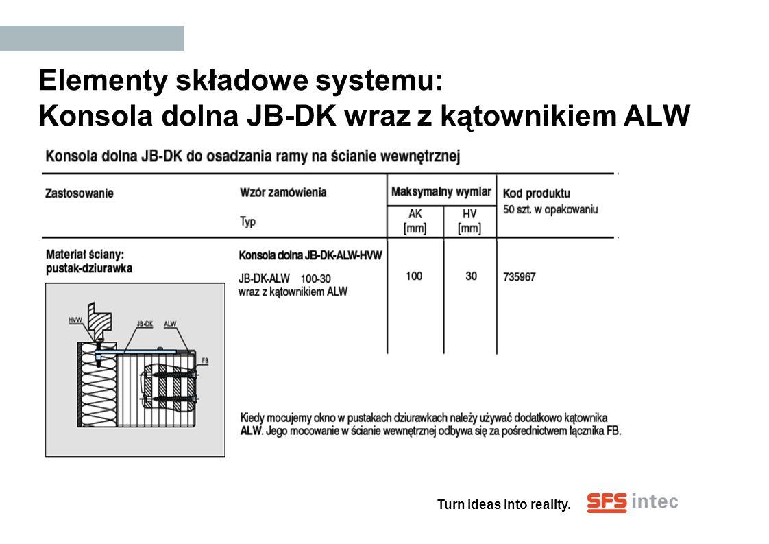 Elementy składowe systemu: Konsola dolna JB-DK wraz z kątownikiem ALW