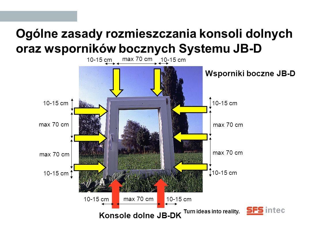 Ogólne zasady rozmieszczania konsoli dolnych oraz wsporników bocznych Systemu JB-D