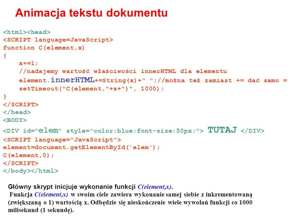 Animacja tekstu dokumentu