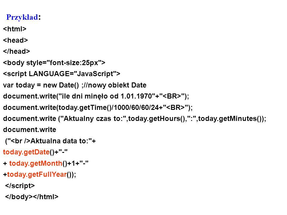 Przykład: <html> <head> </head>