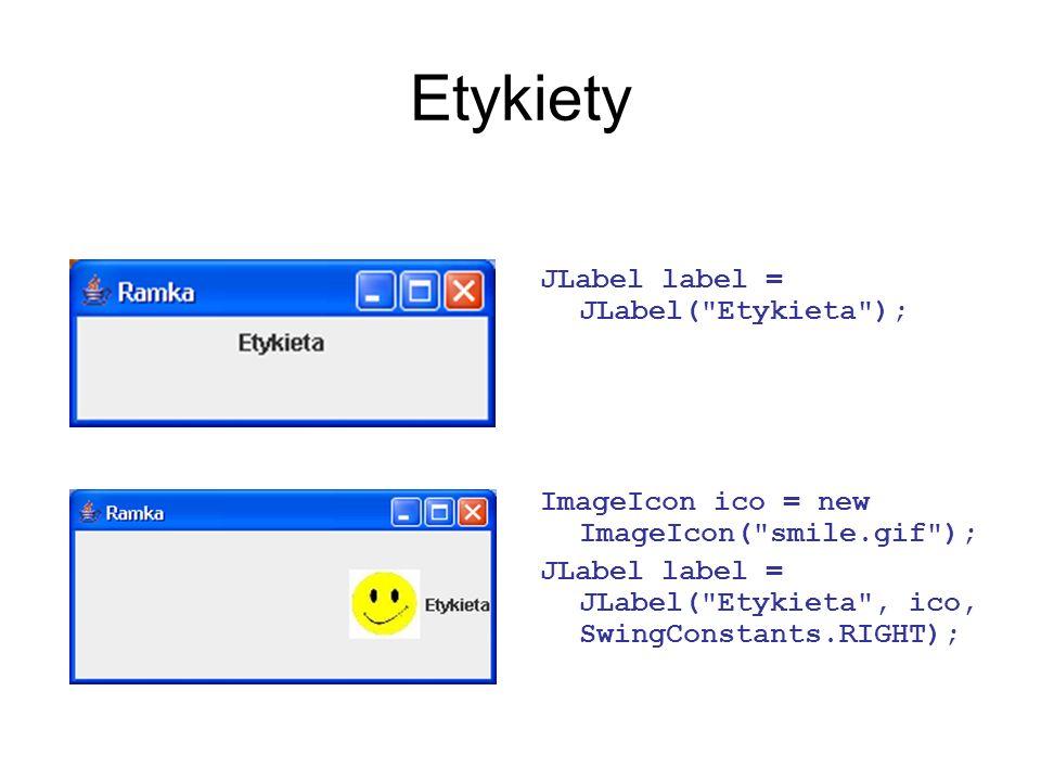 Etykiety JLabel label = JLabel( Etykieta );