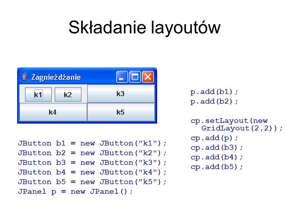 Składanie layoutów p.add(b1); p.add(b2);