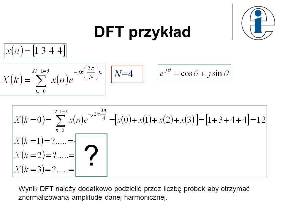 DFT przykład N=4. .