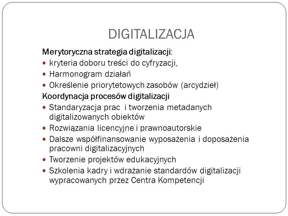 DIGITALIZACJA Merytoryczna strategia digitalizacji: